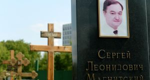 The grave of Sergei Magnitsky in Moscow. Photograph: James Hill/The New York Times