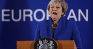British prime minister Theresa May speaks at a press conference  in Brussels last month. Photograph: Sean Gallup/Getty Images
