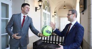 Former Irish soccer international Niall Quinn  with  ACCA Leinster chair Jason Murphy. Photograph: Justin Mac Innes/Mac Innes Photography