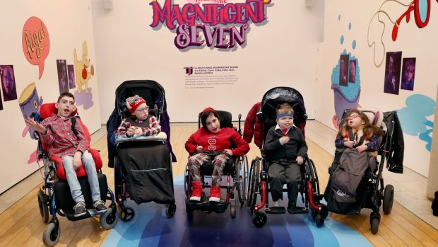 Evan Swayne, Erica Cawley, Nira Bouzid, Jack Hamens and Natalie Maria Racovita.The National Gallery of Ireland launched a display entitled 'The Much More Magnificent Seven - LauraLynn at the Abbey Theatre', telling the story of a performance while highlighting the importance of the Arts for all children. Photograph: Maxwell Photography Dublin