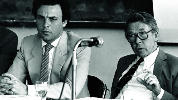 Louden Ryan, right, as chairman of the National Planning Board, with Dr Peter Bacon, director of the board secretariat, in 1984. Photograph: Paddy Whelan