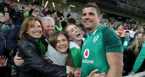 Tadhg Beirne celebrates with his mother Brenda, father Gerry and sisters Jennifer, Alannah and Caoimhe after the victory over Australia in the second Test at AAMI Park, Melbourne. Photograph: Dan Sheridan/Inpho