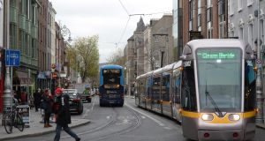 The Luas on Dawson Street, Dublin. Photograph: Dara Mac Dónaill