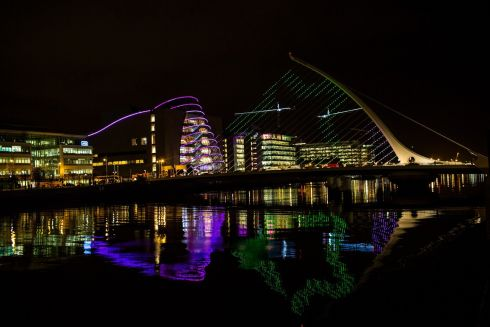 The Samuel Beckett bridge in Dublin embelished with this year's Christmas light display. Photograph: James Forde/The Irish Times
