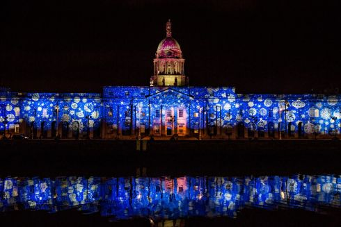 The full display at the Custom House, as seen from the other side of the Liffey. Photograph: James Forde/The Irish Times