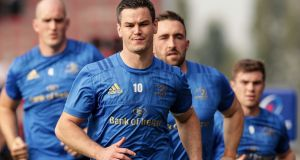 Leinster's Jonathan Sexton in training ahead of their Champions Cup meeting with Bath. Photograph: Billy Stickland/Inpho