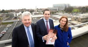 James Menton, chairman of St Vincent's University Hospital,  Minister for Health Simon Harris and Master of the National Maternity Hospital  Dr Rhona Mahony: new EU building rules could force the project to be redesigned, escalating the cost and threatening its future. Photograph: Cyril Byrne