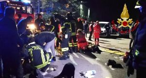 Six people died in a stampede at a nightclub in central Italy after panic erupted, firefighters said. Photograph: Vigili del Fuoco/AFP
