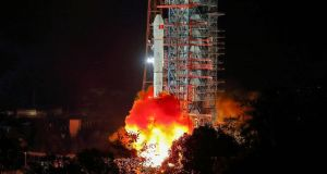 A Long March 3B rocket lifts off from the Xichang launch centre in Xichang in China's southwestern Sichuan province early. Photograph: China OUTSTR/AFP/Getty Images