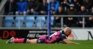 Willi Heinz of Gloucester Rugby dives over to score his side's first try during the Champions Cup win over Exeter Chiefs at Sandy Park. Photo: Dan Mullan/Getty Images