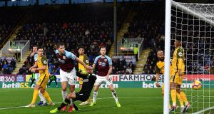 Burnley's James Tarkowski scores his side's first goal of the game during the Premier League win over Brighton at Turf Moor. Photo: Anthony Devlin/PA Wire