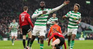 Celtic's Odsonne Edouard celebrates scoring his side's second goal during their win over Kilmarnock. Photo: Jane Barlow/PA Wire