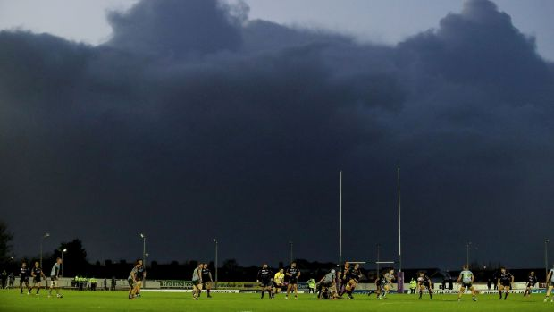 Dark skies gather over the Sportsground during Connacht's Challenge Cup win over Perpignan. Photograph: Dan Sheridan/Inpho