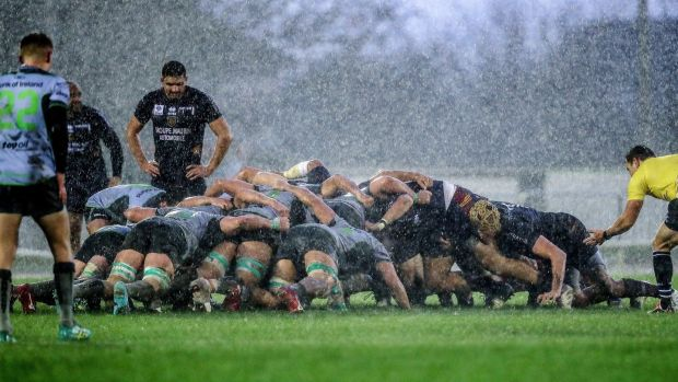 A scrum durign Connacht's 22-10 win at the Sportsground. Photograph: Dan Sheridan/Inpho