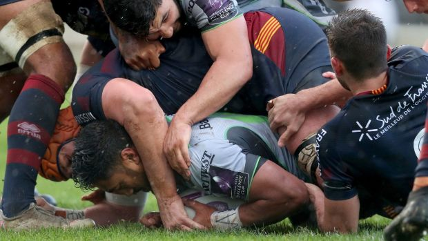 Bundee Aki burrows over to score for Connacht against Perpignan. Photograph: Dan Sheridan/Inpho