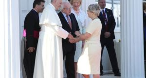 Pope Francis shaking hands with Minister for Children Katherine Zappone at Áras an Uachtaráin as part of his visit to Ireland in August. Photograph: Danny Lawson/PA Wire