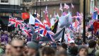 People take part in a 'Brexit Betrayal' march organised by Ukip in central London. Photograph: PA