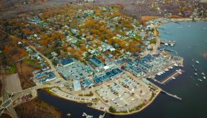 Aerial view of Scituate in autumn as the leaves turn to red.