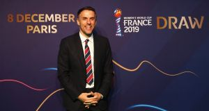 Phil Neville, coach of England, attending the Women's World Cup draw in Paris. Photograph: Dean Mouhtaropoulos/Getty Images