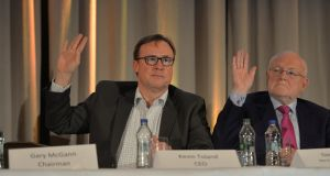 Aryzta CEO and   Dan Flinter, non executive director,  at the company agm  in Dublin last year. Photograph: Alan Betson