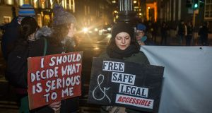 A protest outside the Dáil demanding the right to free and safe legal abortion. Photograph: James Forde
