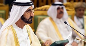Vice president and prime minister of the United Arab Emirates Sheikh Mohammed bin Rashid al-Maktoum:  the UAE is among the countries engaged in a economic and diplomatic boycott of Doha since mid-2017. Photograph: Bandar al-Jaloud/AFP/Getty