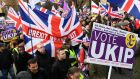 "UK Independence Party  and pro-Brexit supporters at the ""Brexit Betrayal"" march in London on Sunday. Photograph: Andy Rain/EPA"