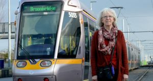 Laura Grehan at Broombridge Luas stop in Cabra. Photograph: Cyril Byrne