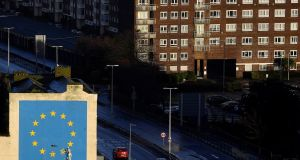 A large mural depicting the EU flag being chipped away and attributed to the artist Banksy is seen at the Port of Dover. Photograph: Toby Melville/Reuters