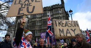 A view of a Ukip 'Brexit Betrayal' march in London, Britain, on Sunday. Photograph: Andy Rain/EPA