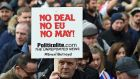 UKIP and pro Brexit supporters with a placard 'No Deal. No EU. No May!' during UKIP Brexit betrayal march in London. Photograph: Andy Rain/EPA