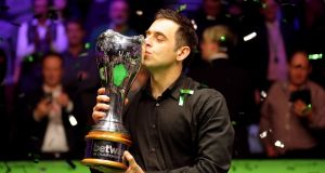 Ronnie O'Sullivan beat Mark Allen 10-6 to secure his seventh UK Championship. Photograph: Richard Sellers/PA