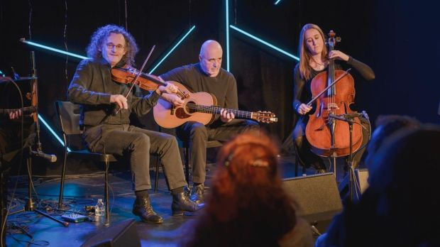 Martin Hayes, Dennis Cahill and Kate Ellis at the Irish Arts Center