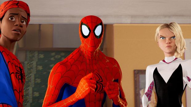 Miles Morales, Peter Parker and Spider-Gwen in Spider-Man: Into the Spider-verse