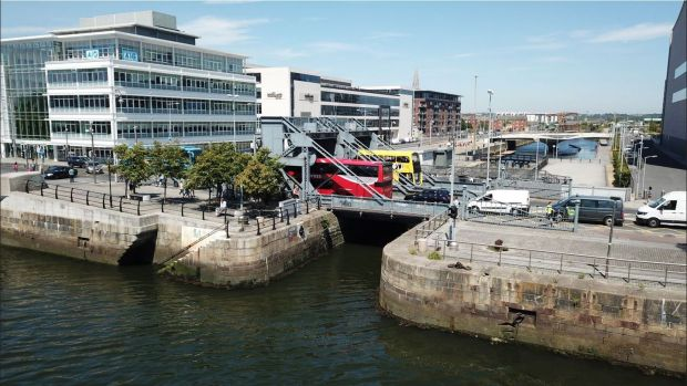 A contemporary view of the Scherzer lifting bridges over Royal Canal Photograph: Dublin Docklands