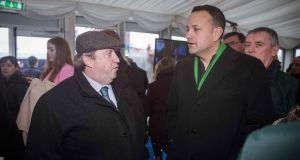Taoiseach Leo Varadkar and HRI chief executive Brian Kavanagh. Mr Kavanagh has said there are no border inspection points for equines at any of the Irish seaports. Photograph:  Morgan Treacy/Inpho