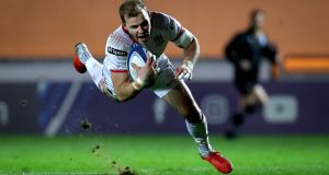 Ulster's Will Addison scoring their third try against Scarlets at Parc y Scarlets, Wales. Photograph:   Ryan Byrne/Inpho