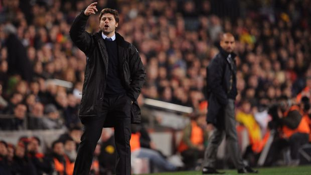 Pochettino during his timke as Espanyol manager against Pep Guardiola's Barcelona in 2009. Photo: Denis Doyle/Getty Images