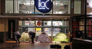 Rough sleepers set up a row of tents at the Ilac Centre, off Henry Street in Dublin. Photograph: Nick Bradshaw/The Irish Times