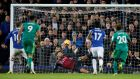 Watford's Ben Foster saves a penalty from Everton's Gylfi Sigurdsson. Photograph: Reuters