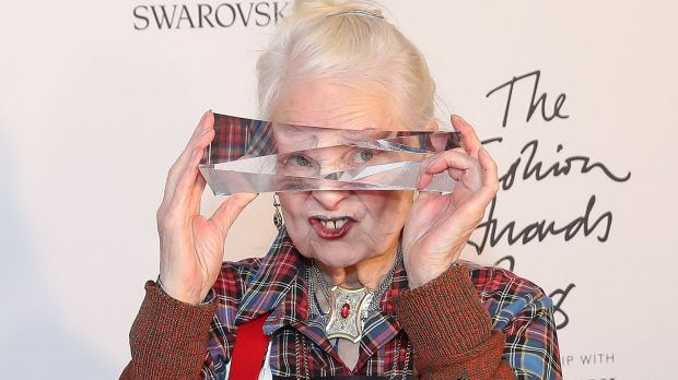 British fashion designer Vivienne Westwood with her award for Positive Change during the British Fashion Awards 2018 in London on Monday. Photograph: Daniel Leal-Olivas/AFP/Getty Images