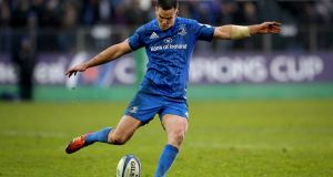 Leinster's Johnny Sexton kicks a conversion against Bath last weekend. Photograph: Ryan Byrne/Inpho