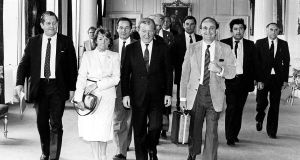 Eileen Lemass  with Brian Lenihan, Charles Haughey and Gerry Collins among others   at a New Ireland Forum meeting at Dublin Castle. Photograph: Eddie Kelly