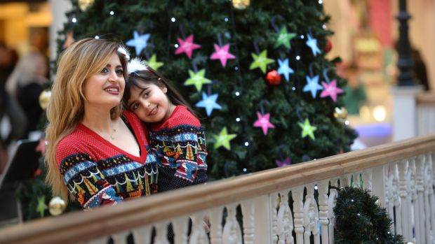 Serene Ibraheem and her mother Raneem at St. Stephens Green Shopping Centre, Dublin. Photograph: Dara Mac Dónaill/The Irish Times