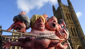 Effigies of UK politicians: ESRI says if the UK left leaves the EU without a deal, growth in Ireland may be cut to 2.6 per cent from an otherwise 4.2 per cent. Photograph: Andy Rain