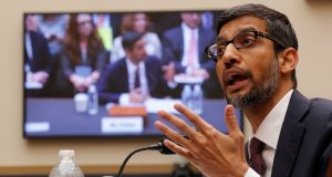 Google CEO Sundar Pichai testifies at a US congressional hearing in Washington on Tuesday.  Photograph: Reuters