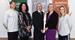 Arthur Lanigan-O'Keeffe, Ireland modern pentathlete; Patricia Heberle, chef de mission for Tokyo 2020; John Treacy, chief executive of Sport Ireland; Sarah Keane, OFI president; and Nicci Daly, an Ireland international hockey player, at the  launch  of new performance supports ahead of Tokyo 2020. Photograph:  Sam Barnes/Sportsfile