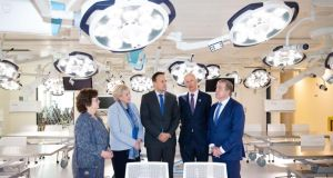 Taoiseach Leo Varadkar (centre) is pictured during a visit to the RCSI in Dublin.  Photograph: Tom Honan/The Irish Times