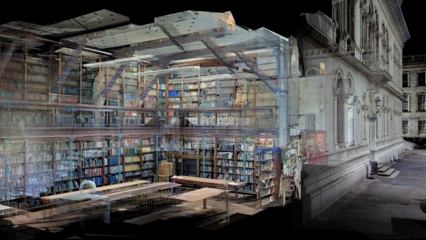 Building scan image of Freeman Library, Trinity College revealed in Making Victorian Dublin