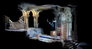 Building scan image of Main Hall, Trinity Museum Building revealed in Making Victorian Dublin